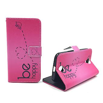 Mobile phone case pouch for mobile WIKO Lenny 2 be happy pink
