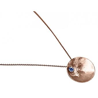 Ladies - necklace - pendant - 925 Silver - rose gold plated - SHELL - Iolite - blue - 45 cm