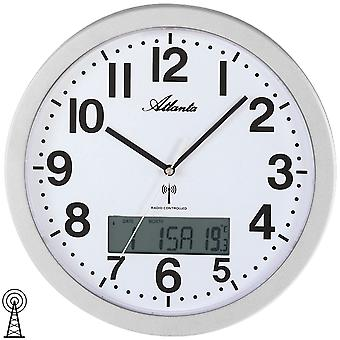 Atlanta 4380/19 wall clock radio radio controlled wall clock with date analog silver thermometer