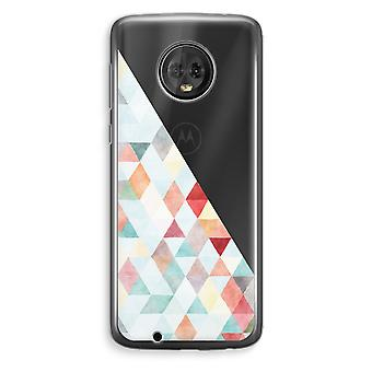 Motorola Moto G6 Plus Transparent Case (Soft) - Coloured triangles pastel
