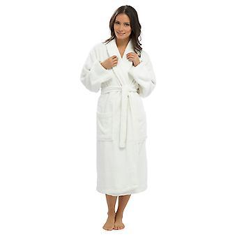 Ladies Supersoft Warm 100% Cotton Wrap Over Shawl Collar Dressing Gown Bathrobe