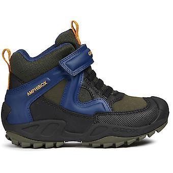 Garçons de Geox Savage J841WA bottes imperméables vert bleu