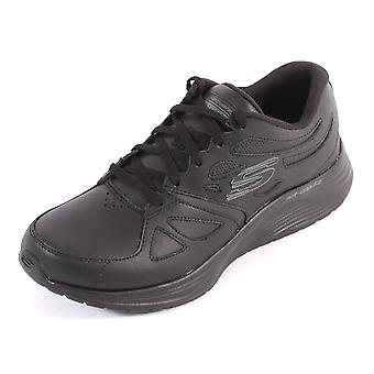 Skechers Women's Skyline Leather Overlay Lace-Up Trainer Black