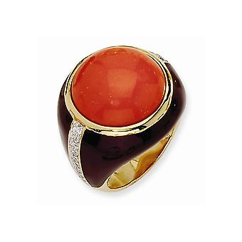 Gold-Flashed Sterling Silver Enamel Brn Enam Simulated Red Created Simulated Coral and CZ Ring - Ring Size: 7 to 8