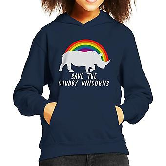 Save The Chubby Unicorns Rainbow Kid's Hooded Sweatshirt