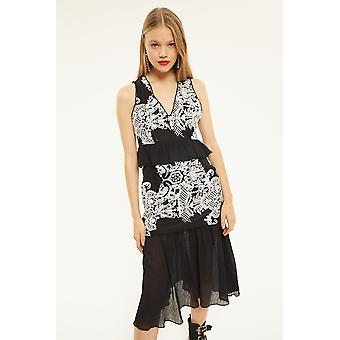 Foxie Dox Black Midi Dress With Lace And Frill Detail