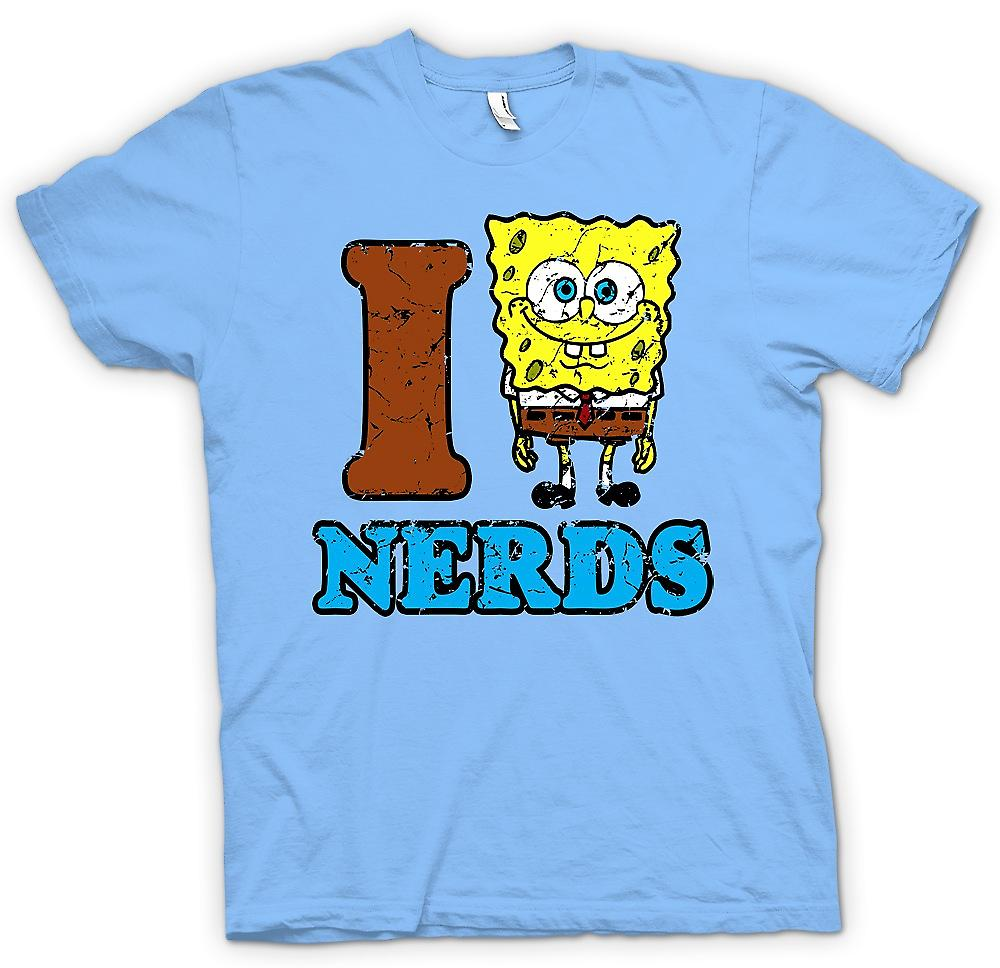 Heren T-shirt - I Love Nerds - Sponge Bob