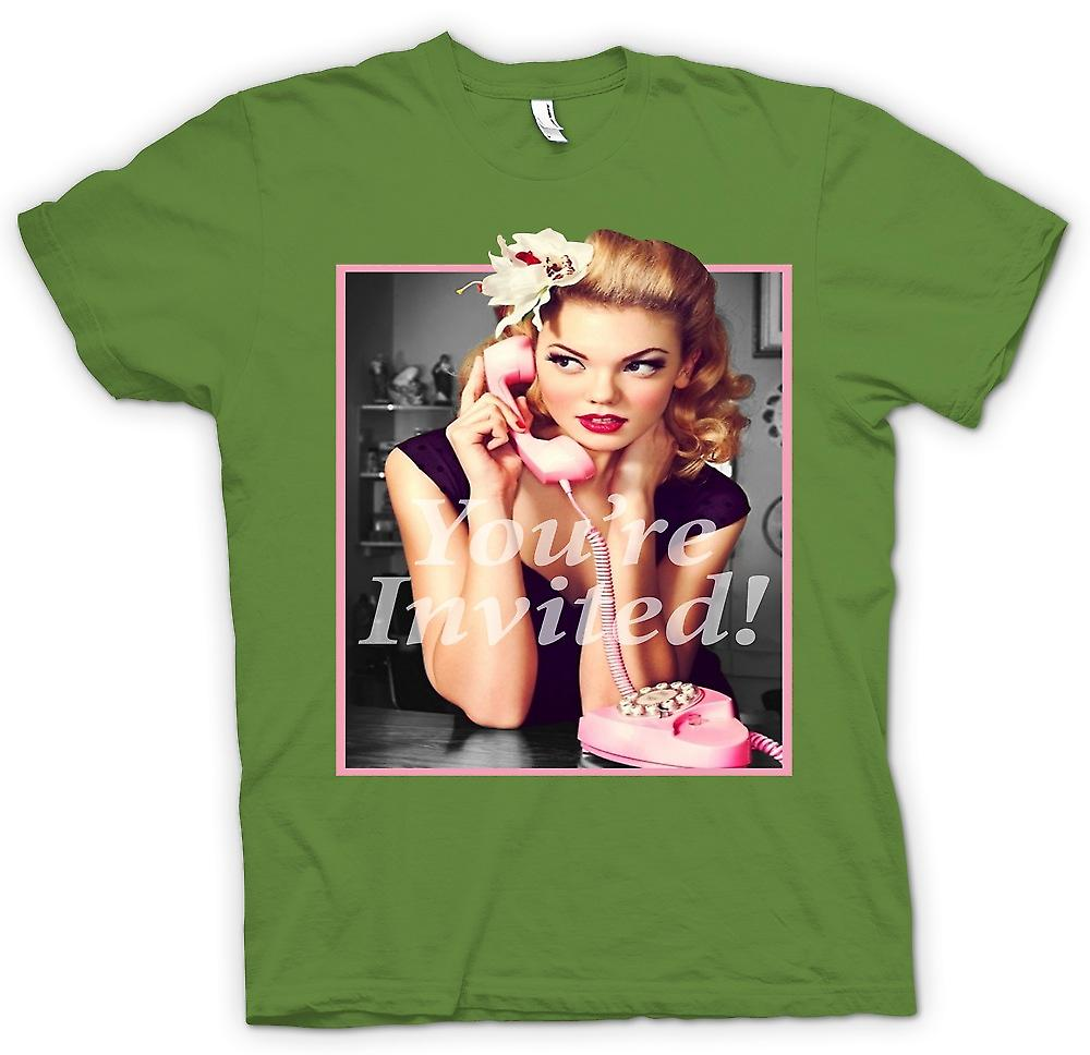 Mens T-shirt - Vintage 60s Pin Up - Your Invited - Retro