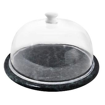 Green Marble Cheese Board Clear Dome Lid 19cm