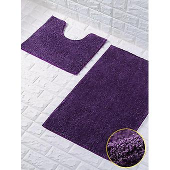 Shiny Sparkling Bath Mat Set 2 Piece Non Slip Pedestal Mat Toilet Bathroom Mat