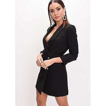 Double Breasted Gürtelreifen Longline Blazer Minikleid schwarz