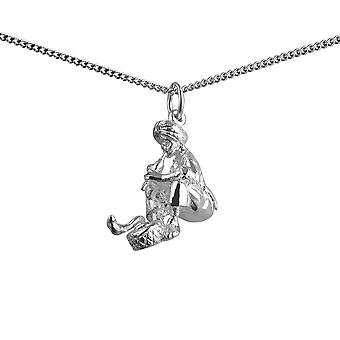 Silver 22x16mm snake Charmer Pendant with a 1.3mm wide curb Chain 24 inches
