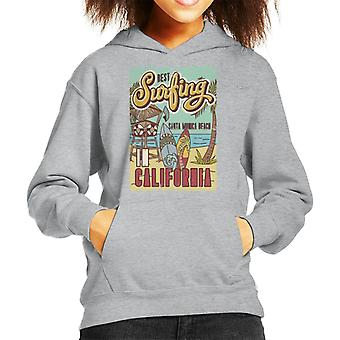 Best Surfing In California Santa Monica Beach Kid's Hooded Sweatshirt