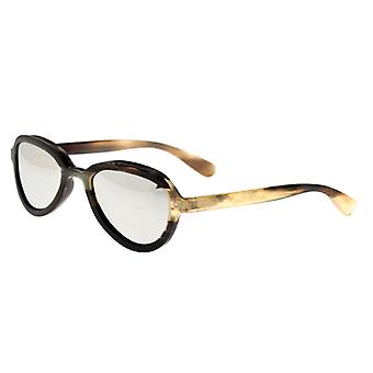 Bertha Alexa Buffalo-Horn Polarized Sunglasses - Black-Tan/Silver