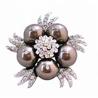 Darkest Brown Swarovski Chocolate Pearls Vintage Brooch Pin