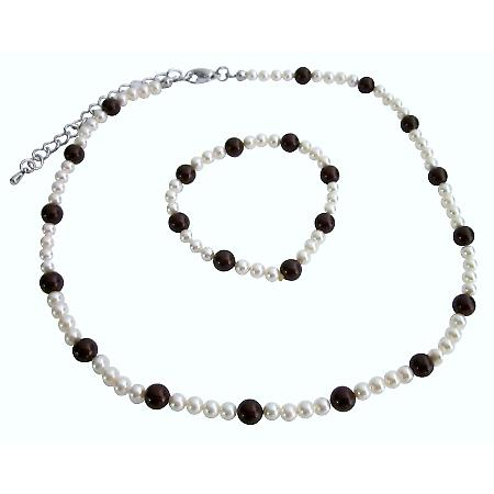 Flower Girl Swarovski Ivory w/ Maroon Pearls Wedding Necklace Bracelet