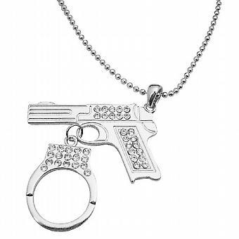Pistol Gun w/ Handcuff Dangling Diamond Gun Pistol Handcuff Necklace