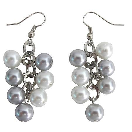 Silver Gray Pearl Earrings with White Pearl Wedding Cluster Earrings