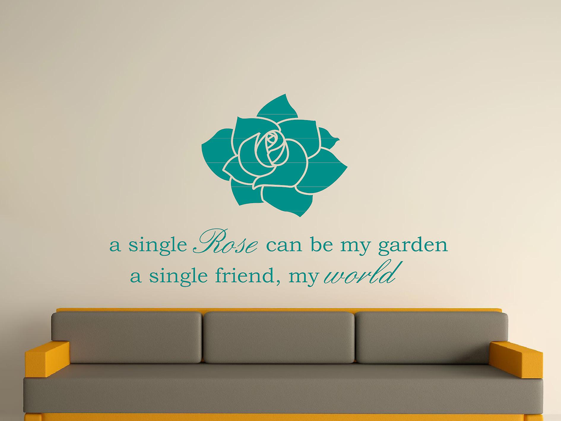 A Single Rose Wall Art autocollants - Aqua Vert