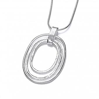 Cavendish French Silver Bold Triple Oval Pendant without Chain