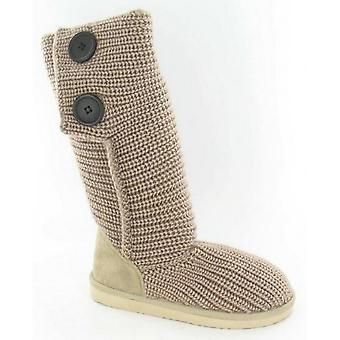 Spot On Childrens Girls Knitted Buttoned Boots