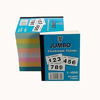 12 Books Of 1000 Cloakroom / Raffle Tickets (Assorted Colours)