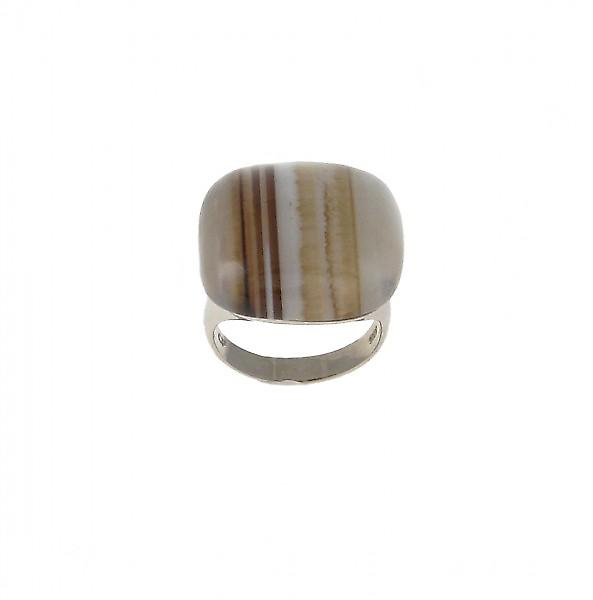 Cavendish French Sterling Silver and Black Persian Agate Square Ring