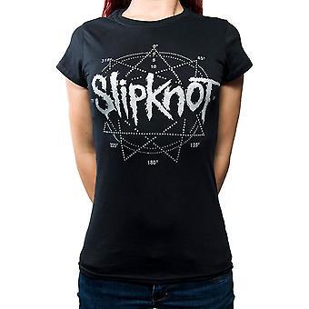 Women's Slipknot Diamante Star Logo Black T-Shirt
