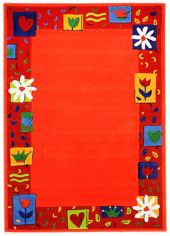 Rugs -Children\'s Floral Border - Orange - 3657