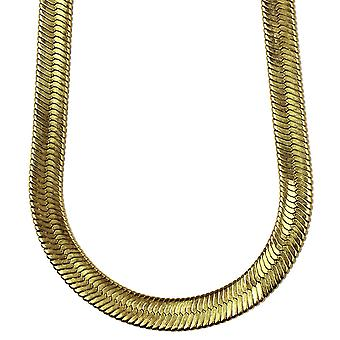 14K Gold Plated fiskbensmönster kedja halsband 14 mm x 30 inches
