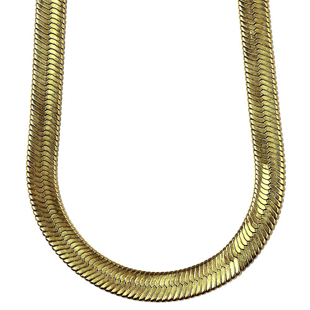 14K gullbelagt fiskebein kjede kjede 14 mm x 30 inches messing