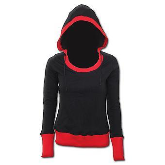 Spiral Direct Gothic URBAN FASHION - Wide Rib Drape Hoody Red Black|Fashion