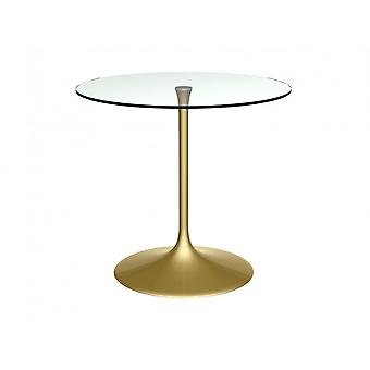 Gillmore Space Pedestal Medium Dining Table Clear Glass And Brass