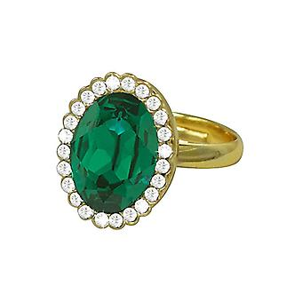 Eternal Collection Countess Oval Emerald Green Crystal Gold Tone Costume Ring