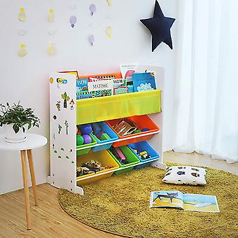Colourful storage rack with 6 boxes and 3 bookholders