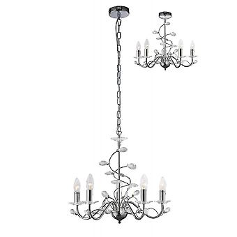 Diyas Willow Pendant Without Shade 5 Light Polished Chrome/Crystal