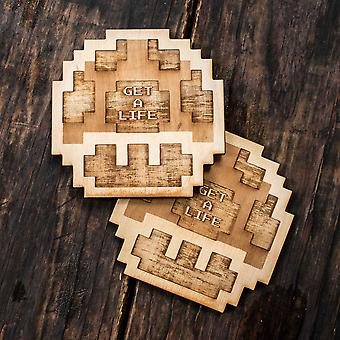Get a life coaster set 4x4in raw wood