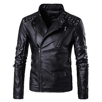 Allthemen Men's Leather Jacket Autumn Zipper Motorcycle Leather Coat