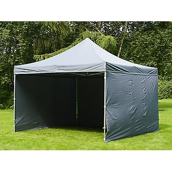 Faltzelt FleXtents Easy up pavillon Xtreme 4x4m Grau, mit 4 Seitenwänden