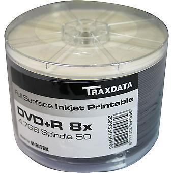 Twin Pack (100 DVDs) DVD-R 8 X TRAXDATA FF weiß Full Face Inkjet Printable Rohling Scheiben beschreibbare (50 Spindel X2)
