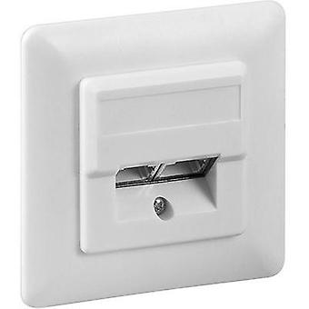 Network outlet Flush mount Insert with main panel and frame CAT 5e 2 ports Goobay 50972 White