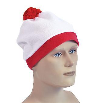 Bobble Hat. Hvid + rød Pom Pom