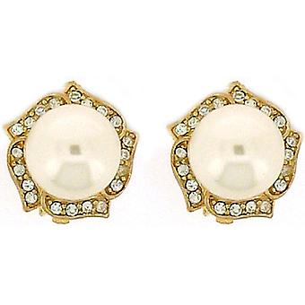 Clip On Earrings Store Large Pearl Crystal & Gold Flower Clip On Earrings