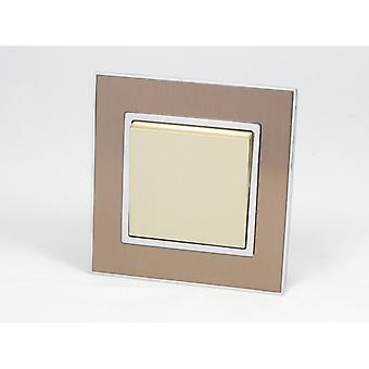 I LumoS AS Luxury Gold Satin Metal Single Frame 1 Gang 1 Way Rocker Light Switches