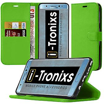 i-Tronixs OnePlus 3T PU Leather Wallet Classic Flip Case + Screen Protector Guard -Green