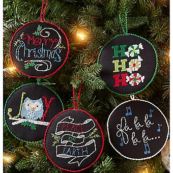 Holly Jolly Ornaments Counted Cross Stitch Kit-4