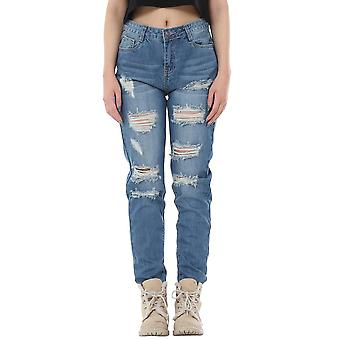 Faded Slim Ripped Distressed Frayed Boyfriend Jeans Short Leg