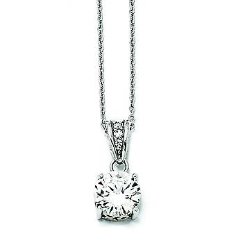 Sterling Silver and Gold-plated 8mm X and O CZ Necklace - 18 Inch