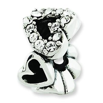 Sterling Silver Antique finish Reflections Crystal Hearts Bead Charm
