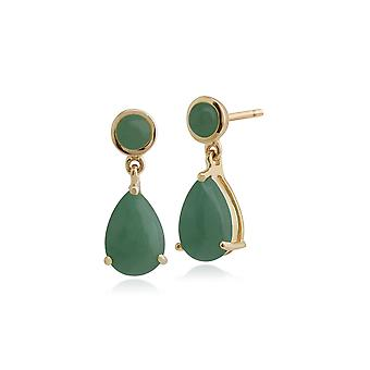 Gemondo 9ct Yellow Gold 3.33ct Green Jade Drop Earrings